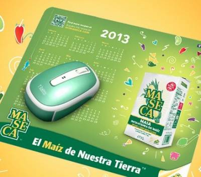 Free 2013 calendar mousepad from Club Mi Maseca