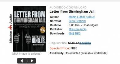 From ChristianAudio: Free Audio Book, Letter from Birmingham Jail, Martin Luther