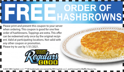 Coupon - Free Hashbrowns at Waffle House