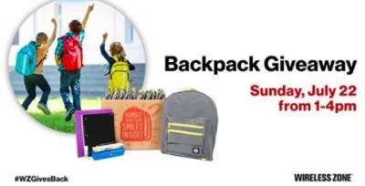 Free Backpacks at Wireless Zone on July 22