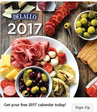 free calendar with DeLallo