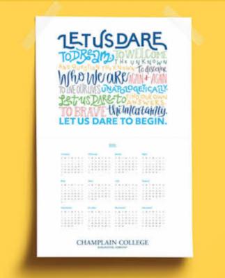 Free Champlain College 2021 Calendar Poster