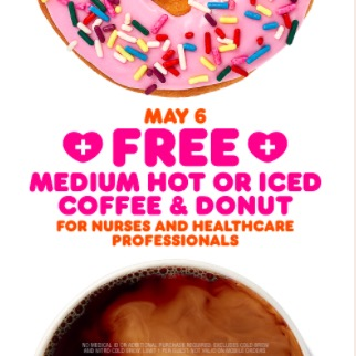 Free Coffee and Donut on National Nurses Day, May 6