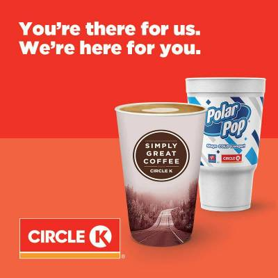 free coffee, tea and Polar Pop Fountain offer for first responders and health care workers