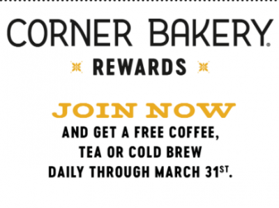 Free Coffee, Tea or Cold Brew at Corner Bakery