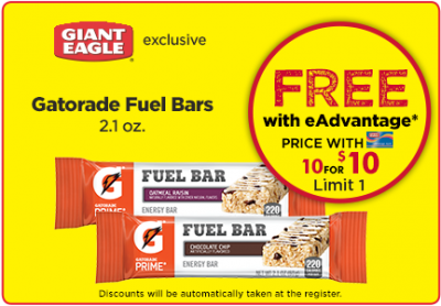 Load up: Free Gatorade Fuel Bars at Giant Eagle