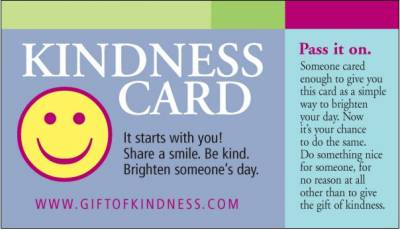 Free Gift of Kindness Cards Download or By Mail