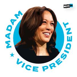 "free ""Madam Vice President"" sticker!"