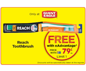 Redeem: Free Reach Toothbrush From Giant Eagle