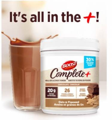 Free Sample of BOOST® COMPLETE+™ Chocolate Oats and Flaxseed Meal Replacement Powder