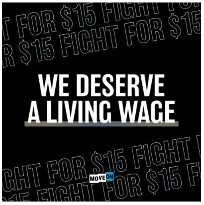 Free Sticker from MoveOn.org - We Deserve a Living Wage
