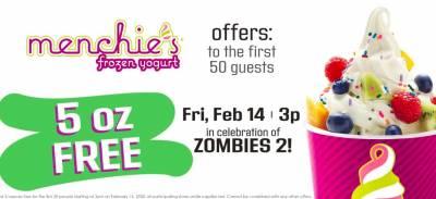 Free Yogurt at Menchie's Frozen Yogurt on Feb 14