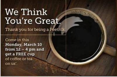 San Fransisco Area: Peet's Day, Free Cup of Coffee or Tea!