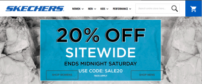 Skechers coupon code for 20 % off!