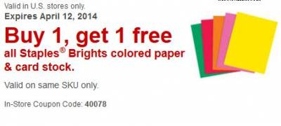 Staples Printable Coupons- Variety, In-Store, Online