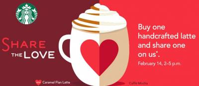Starbucks: Purchase One Handcrafted Espresso or Tea Lattee Get One Free